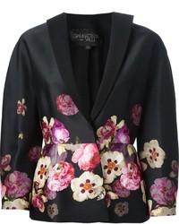 Blazer con print de flores negro