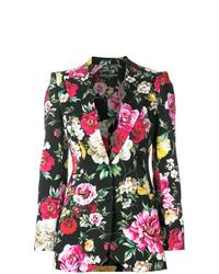 Blazer con print de flores negro de Dolce & Gabbana