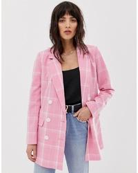 Blazer cruzado a cuadros rosado de Vero Moda