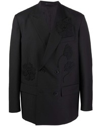 Blazer cruzado bordado negro de Valentino