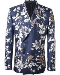 Blazer cruzado con print de flores azul de Dolce & Gabbana