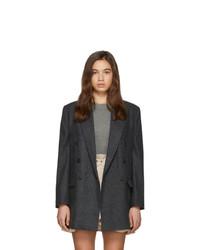 Blazer cruzado de lana a cuadros en gris oscuro de Isabel Marant Etoile
