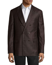 Blazer cruzado de lana a cuadros en marrón oscuro