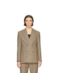 Blazer cruzado de lana a cuadros marrón claro de Nanushka