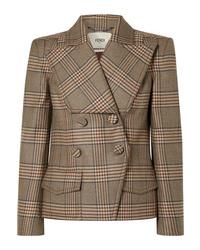 Blazer cruzado de lana a cuadros marrón de Fendi