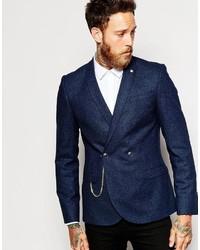 Blazer cruzado de lana azul marino