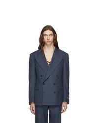 Blazer cruzado de lana azul marino de Gucci