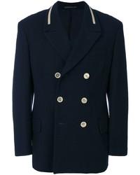 Blazer cruzado de lana azul marino de Yohji Yamamoto Pre-Owned