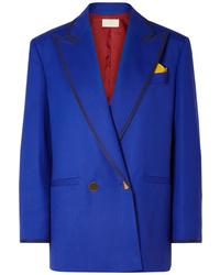 Blazer cruzado de lana azul de Sara Battaglia