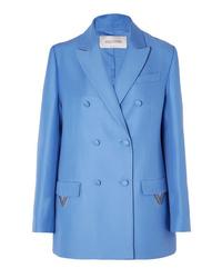 Blazer cruzado de lana azul de Valentino