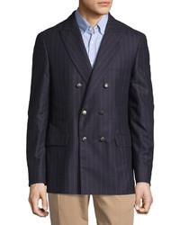 Blazer cruzado de lana de rayas verticales azul marino
