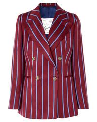 Blazer cruzado de lana de rayas verticales burdeos de Giuliva Heritage Collection