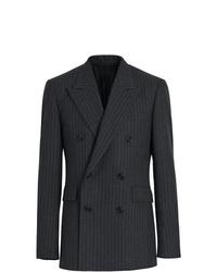 Blazer cruzado de lana de rayas verticales en gris oscuro