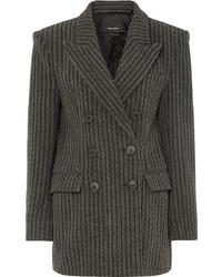 Blazer cruzado de lana de rayas verticales en gris oscuro de Isabel Marant