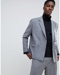 Blazer cruzado de lana de rayas verticales gris de ASOS WHITE