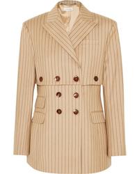 Blazer cruzado de lana de rayas verticales marrón claro de Altuzarra