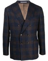 Blazer cruzado de lana de tartán azul marino de Brunello Cucinelli