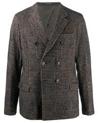 Blazer cruzado de lana de tartán en gris oscuro de Emporio Armani