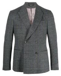 Blazer cruzado de lana de tartán en gris oscuro de Z Zegna