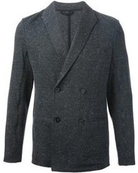 Blazer cruzado de lana en gris oscuro