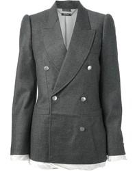 Blazer cruzado de lana en gris oscuro de Alexander McQueen