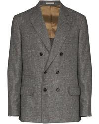 Blazer cruzado de lana en gris oscuro de Brunello Cucinelli