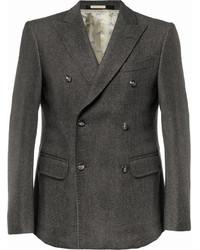 Blazer cruzado de lana en gris oscuro de Massimo Alba