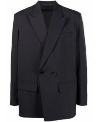 Blazer cruzado de lana en gris oscuro de Valentino