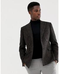 Blazer cruzado de lana en marrón oscuro de ASOS DESIGN