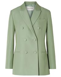 Blazer cruzado de lana en verde menta de Valentino