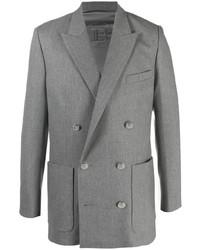 Blazer cruzado de lana gris de Balmain