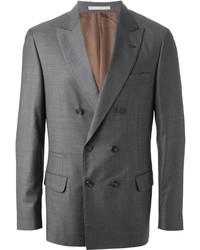Blazer cruzado de lana gris de Brunello Cucinelli