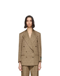 Blazer cruzado de lana marrón claro de Gucci