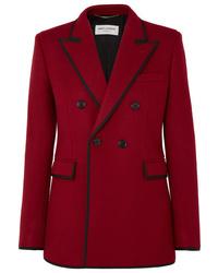 Blazer cruzado de lana rojo de Saint Laurent