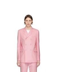 Blazer cruzado de lana rosado de Burberry