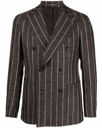 Blazer cruzado de lino de rayas verticales en marrón oscuro de Tagliatore