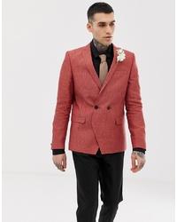 Blazer cruzado de lino rojo de Twisted Tailor