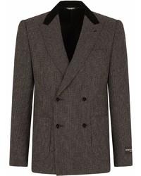 Blazer cruzado de rayas verticales en gris oscuro de Dolce & Gabbana