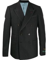 Blazer cruzado de rayas verticales en gris oscuro de Gucci