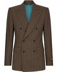 Blazer cruzado de rayas verticales en marrón oscuro de Dolce & Gabbana