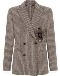 Blazer cruzado de rayas verticales gris de Dolce & Gabbana