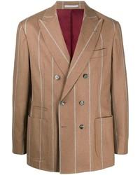 Blazer cruzado de rayas verticales marrón de Brunello Cucinelli