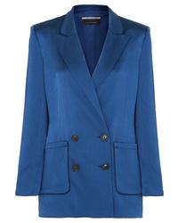 Blazer cruzado de seda azul de Roland Mouret