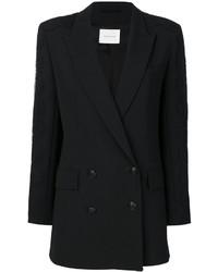 Blazer cruzado de seda negro