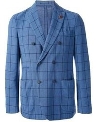 Blazer cruzado de tartán azul de Lardini