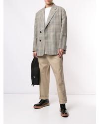Blazer cruzado de tartán gris de Wooyoungmi