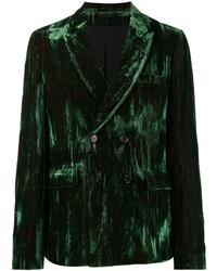 Blazer cruzado de terciopelo verde oscuro de Ann Demeulemeester