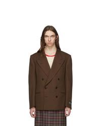 Blazer cruzado en marrón oscuro de Gucci