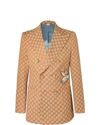Blazer cruzado marrón claro de Gucci