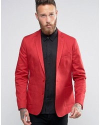 Blazer de algodón rojo de Asos